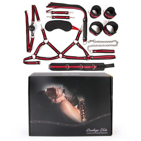 Черно-красный набор БДСМ: наручники, оковы, ошейник с поводком, кляп, маска, плеть, лиф