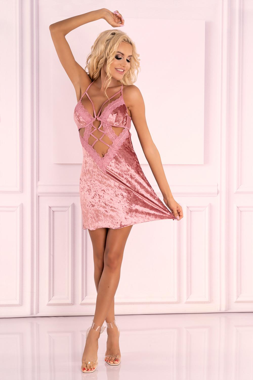 Сорочка Cadrean из нежного велюра пудрово-розового цвета