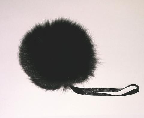Помпон песец натуральный черный 14-16 см