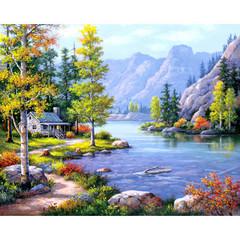 Aлмазная мозаика Домик у горного озера