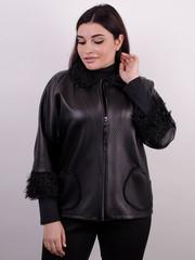 Нота. Легкая куртка size plus. Черный.