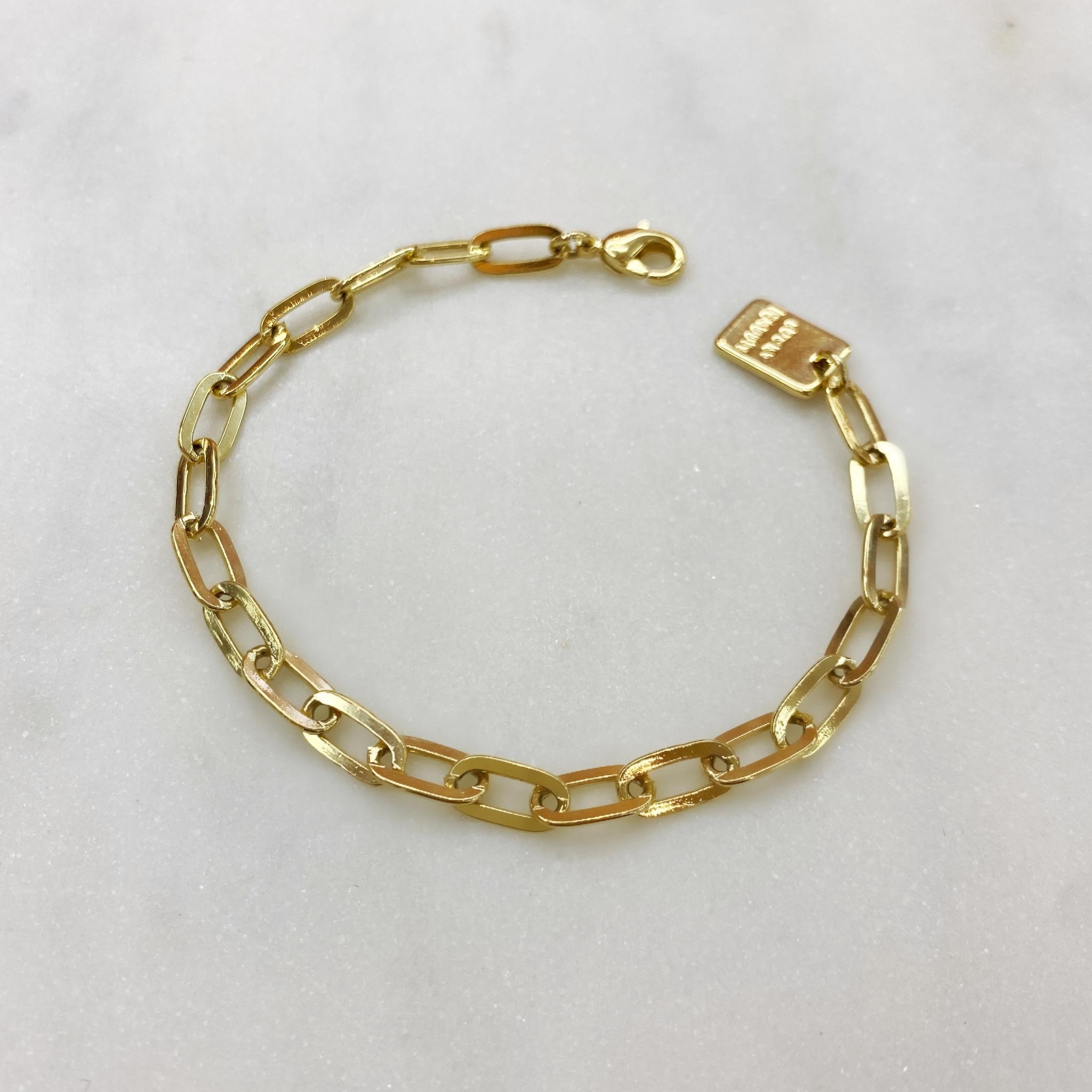 Браслет-цепь якорного плетения с медальоном (золотистый)