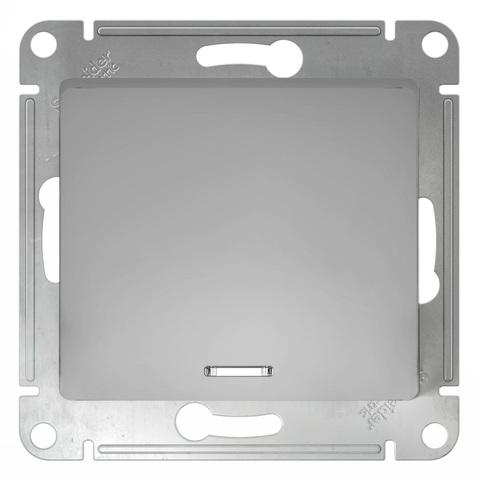 Выключатель одноклавишный с подсветкой, 10АХ. Цвет Алюминий. Schneider Electric Glossa. GSL000313