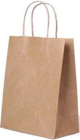 Бумажный пакет 260х140х350 мм с кручеными ручками крафт78