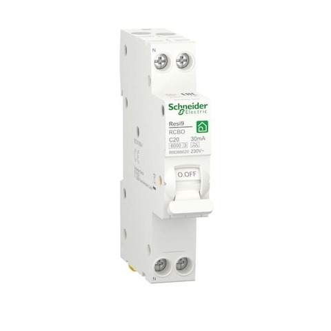 Автоматический дифференциальный выключатель (ДИФ) 1P+N - 20 А тип A 1 модуль 230 В~. Schneider Electric Resi9. R9D88620