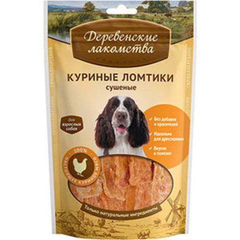 Деревенские лакомства для собак куриные ломтики сушеные 90 г