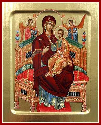 Всецарица икона Божией Матери, на дереве, 125х160 мм