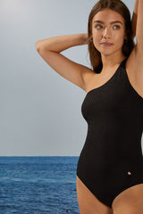 Чорний моделюючий купальник з асиметричною бретеллю