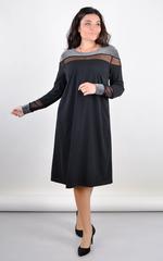 Пава. Вишукана жіноча сукня плюс сайз. Чорний.