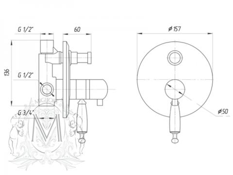 Смеситель скрытого монтажа для ванны/душа термостатический Migliore Oxford BN.OXF-6378 схема