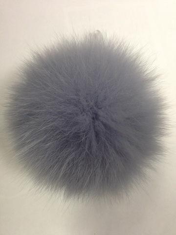 Помпон из меха песца , d-14см (серый с голубым отливом)