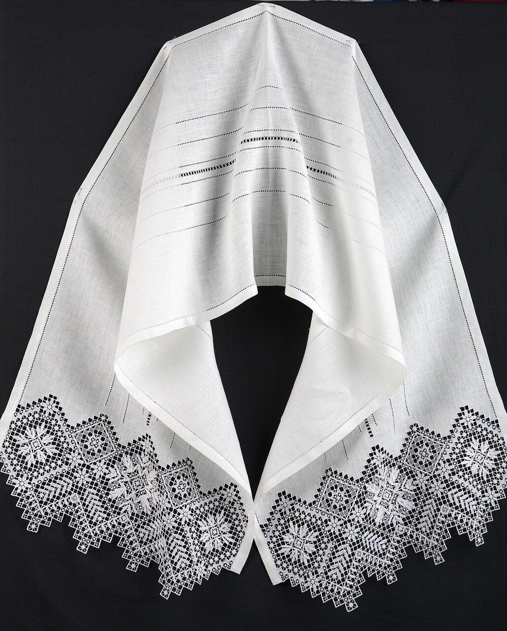 Свадебное полотенце - рушник с мережкой и вышивкой нижегородский гипюр