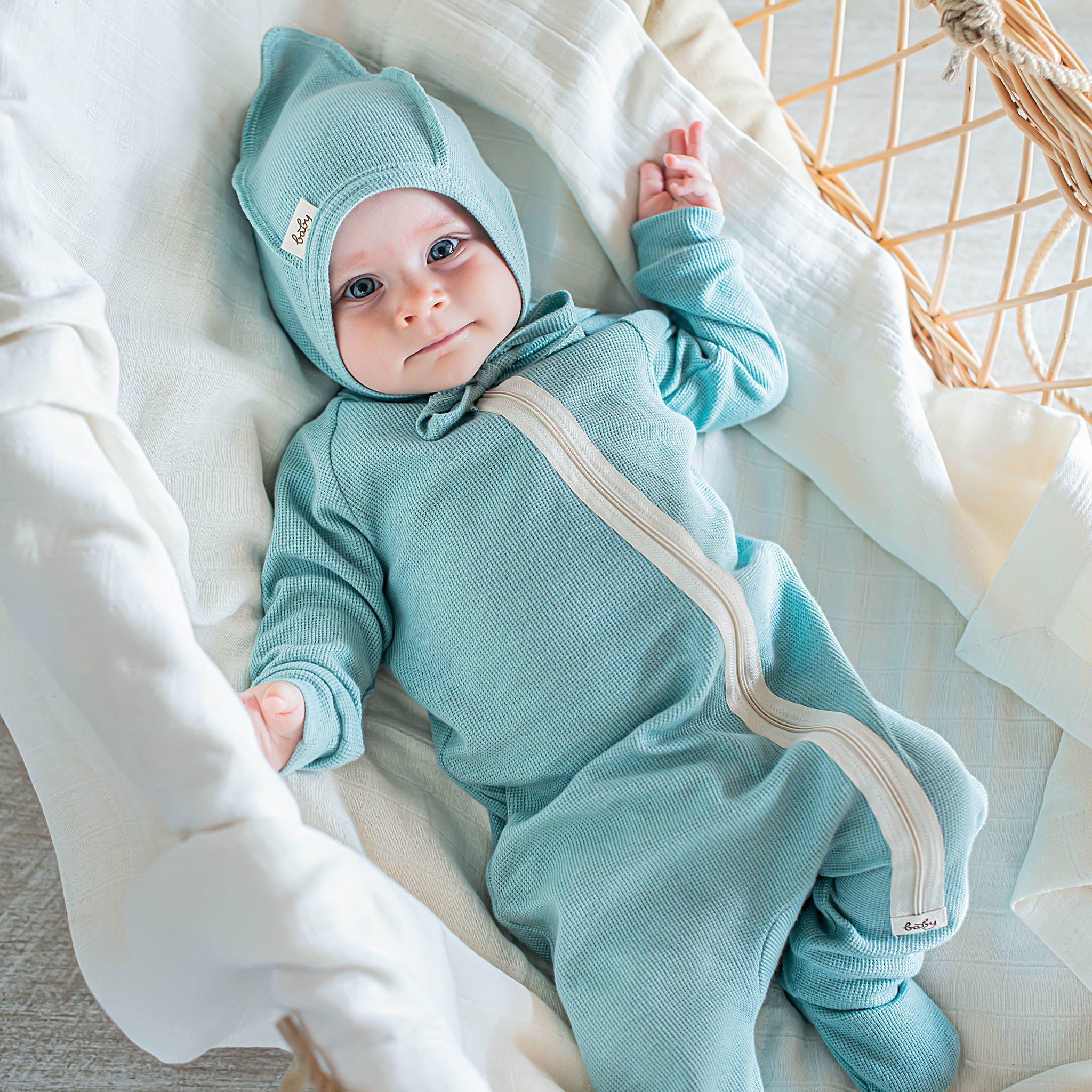 Ribbed pyjamas sleepsuit 0+, Sea Blue
