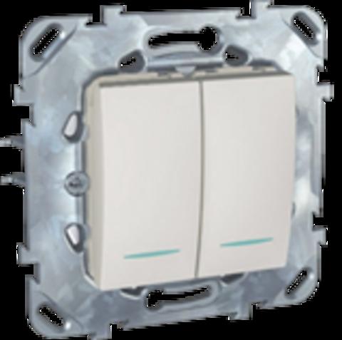 Выключатель двухклавишный с подсветкой. Цвет Белый. Schneider electric Unica. MGU5.0101.18NZD