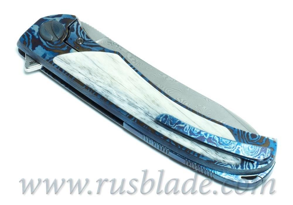 Cheburkov Frieze Damascus Mammoth Folding Knife - фотография