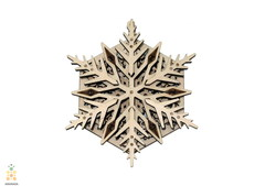 Вудик Снежинка от Wood Trick - Деревянный конструктор, сборная модель, 3D пазл