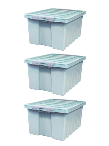 Ящик для хранения RoxBox с крышкой мятный 16 литров, набор из 3 штук