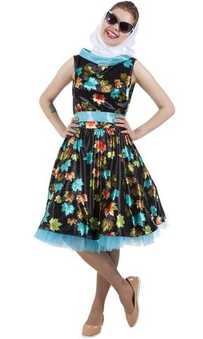 Платье Стиляга чёрное с листочками