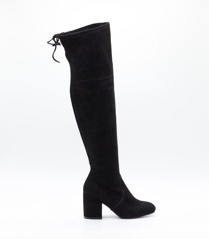 Черные ботфорты из велюра на устойчивом каблуке