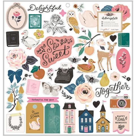 Чипборд 30х30см- Maggie Holmes Marigold by Crate Paper -Maggie Holmes Marigold Chipboard Stickers -50шт