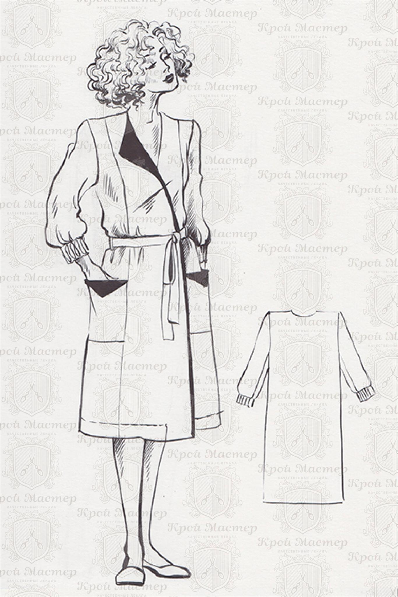 Лекала запашного халата с асимметричным воротником