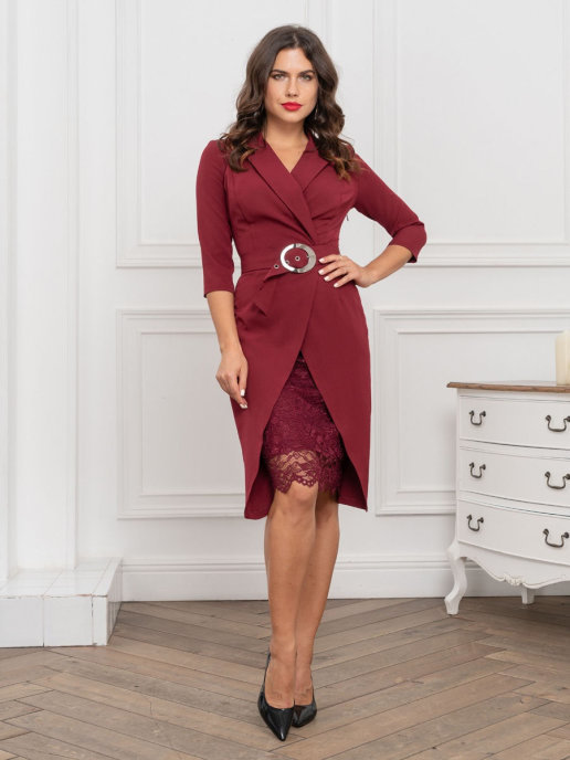 Платье-пиджак с ремнем (бордовый)