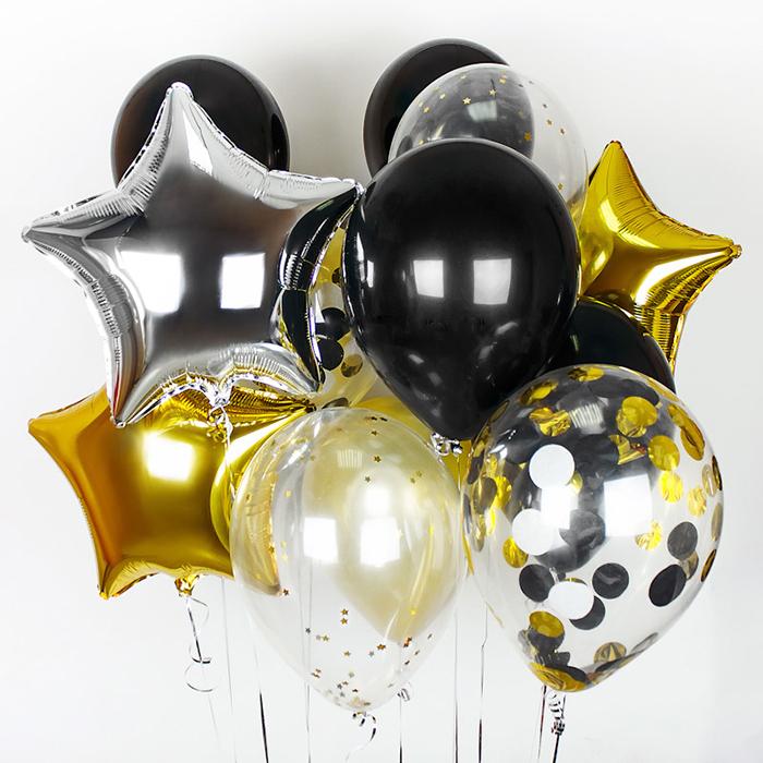 Купить новогодний набор воздушных шаров черное золото