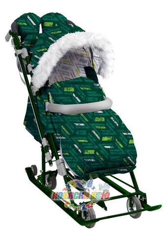 Санки-коляска «Ника Детям 7-8S» зелёные