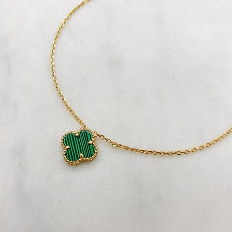 Кулон Клевер (зеленый, золотистый)