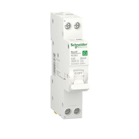 Автоматический дифференциальный выключатель (ДИФ) 1P+N - 25 А тип A 1 модуль 230 В~. Schneider Electric Resi9. R9D88625