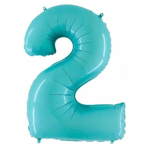 Цифра 2 шар нежно-голубой, 102 см