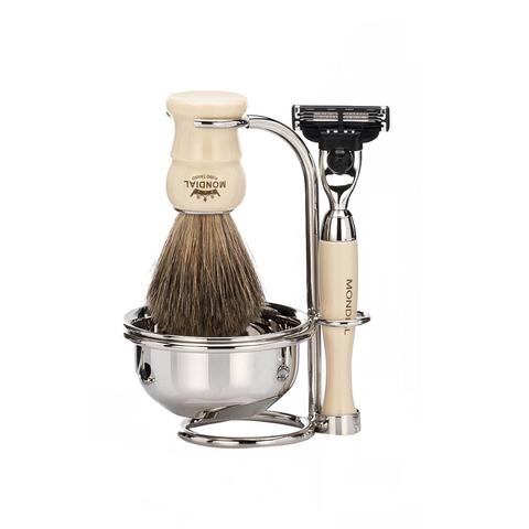Набор бритвенный Mondial: станок, помазок, подставка, чаша; слоновая кость