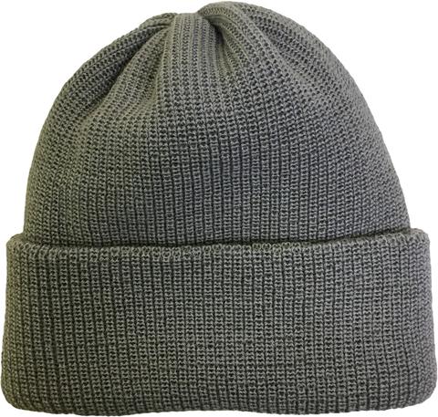 Зимняя шапка бини с отворотом цвет серый