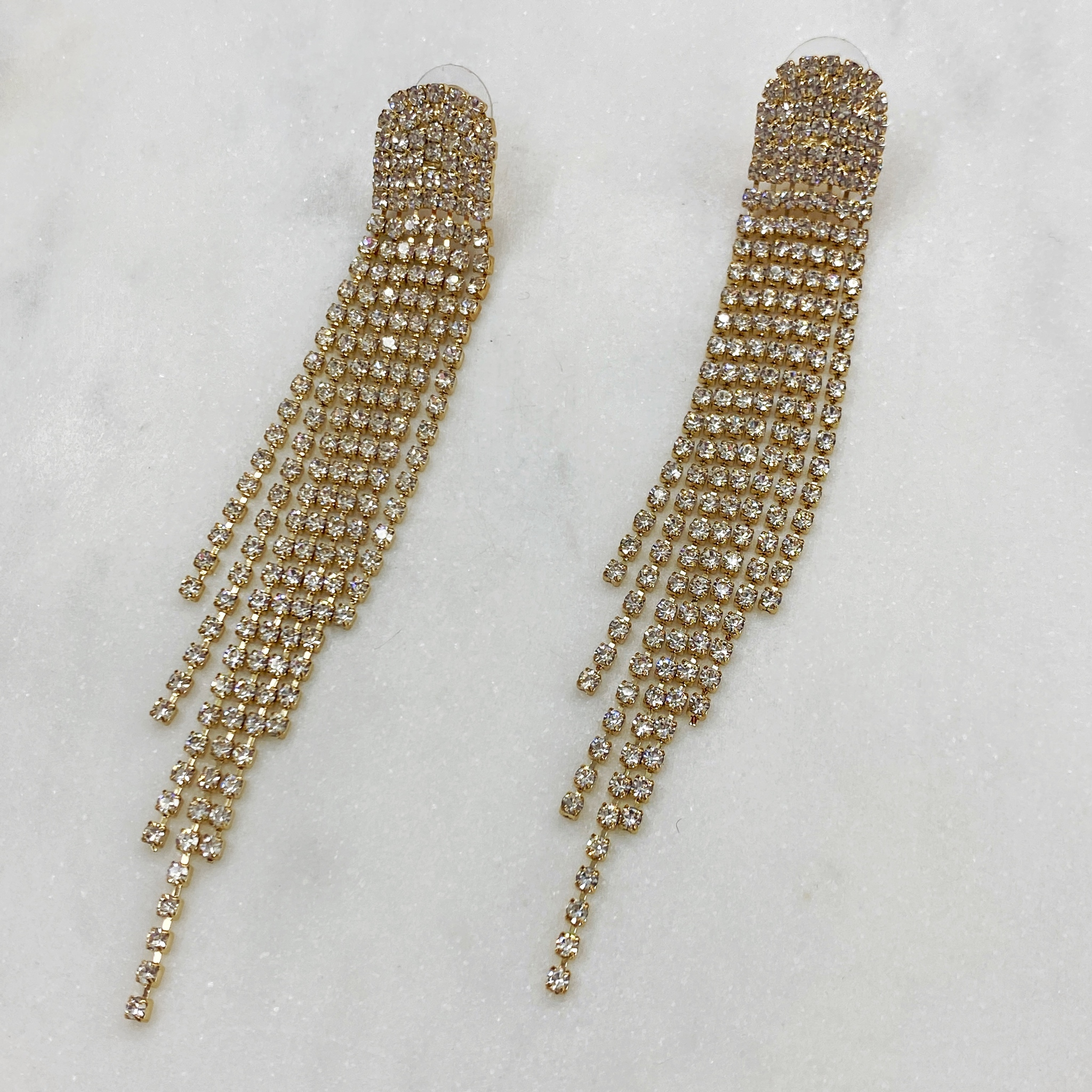 Серьги Диамант каскадные с кристаллами ш925 (золотистый)