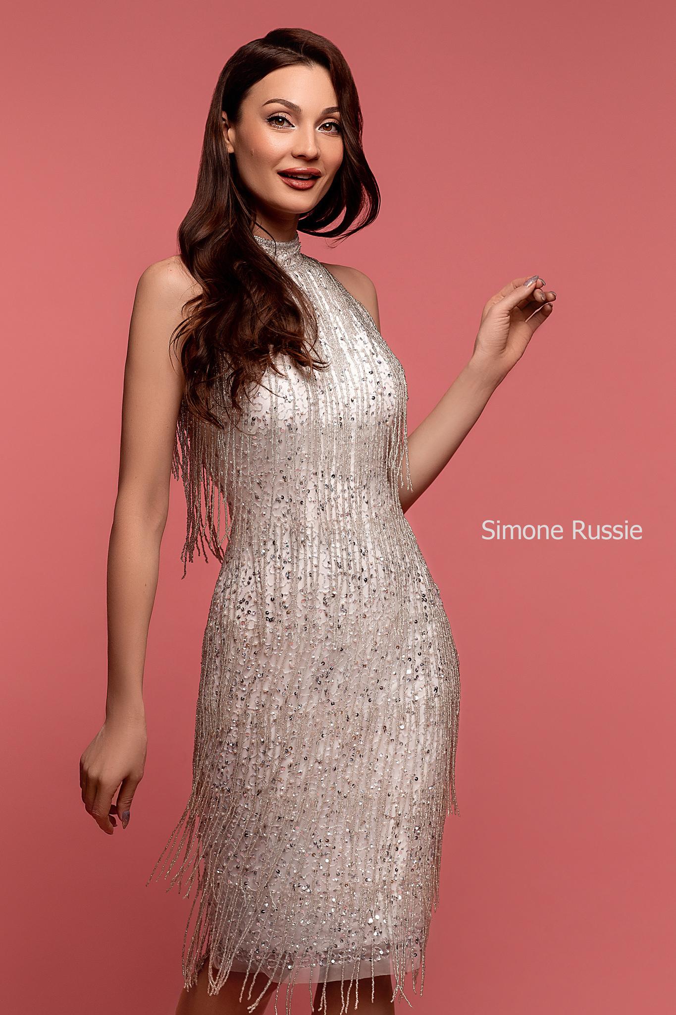 Simone Russie SR1958 Коктейльное платье средней длины с лапшой из бисера