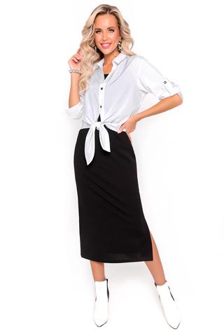 <p>Очень выгодное решение для нового сезона! Модель добавляет образу стиля, делая его более интересным и запоминающимся. Платье ниже колен сторого силуэта и модный блузон свободного кроя создают идеальный силуэт. Рукав блузона 3/4 с патой на пуговице. Планка на пуговицах, ворот на стойке. Платье длинное трикотажное с разрезами по бокам.</p>