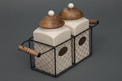 Две банки для сахара и чая в металлической корзине Secret De Maison Шату (CHATEAU) (mod. C-1416 L) — натуральный (natural)