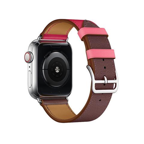 Ремешок кожаный COTEetCI W36 Fashoin Leather (WH5260-44-BRR) для Apple Watch 44мм/ 42мм (short) Коричневый-Розовый