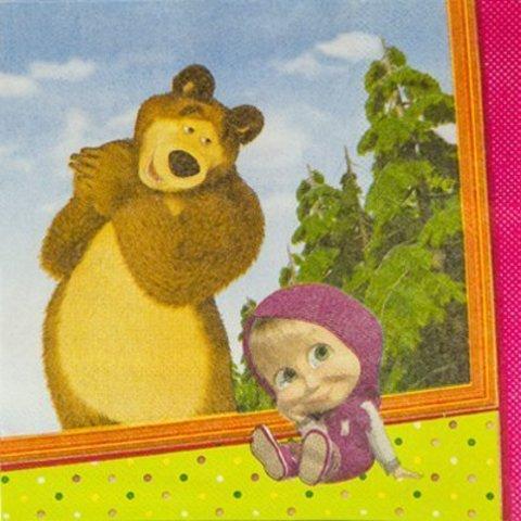 Салфетка Маша и Медведь 25см 12шт/G