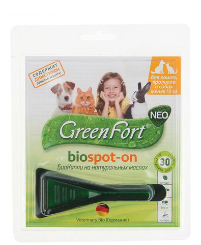 Green Fort neo БиоКапли от блох и клещей для кошек, кроликов и собак до 10 кг 1мл