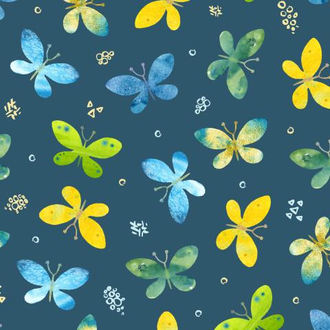 Акварельные бабочки на темном фоне