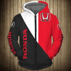 Толстовка утепленная с молнией 3D принт, Honda (3Д Теплые Худи с молнией Хонда) 02