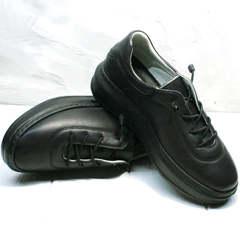 Черные кожаные кроссовки женские Rozen M-520 All Black.