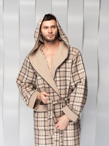 Вафельный мужской халат David с капюшоном бежевый