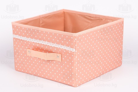 Средний короб без крышки, 29*29*19 см (розовый в горошек)