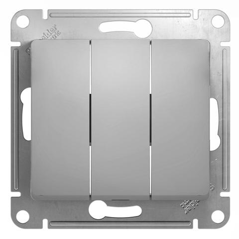 Выключатель трехклавишный, 10АХ. Цвет Алюминий. Schneider Electric Glossa. GSL000331