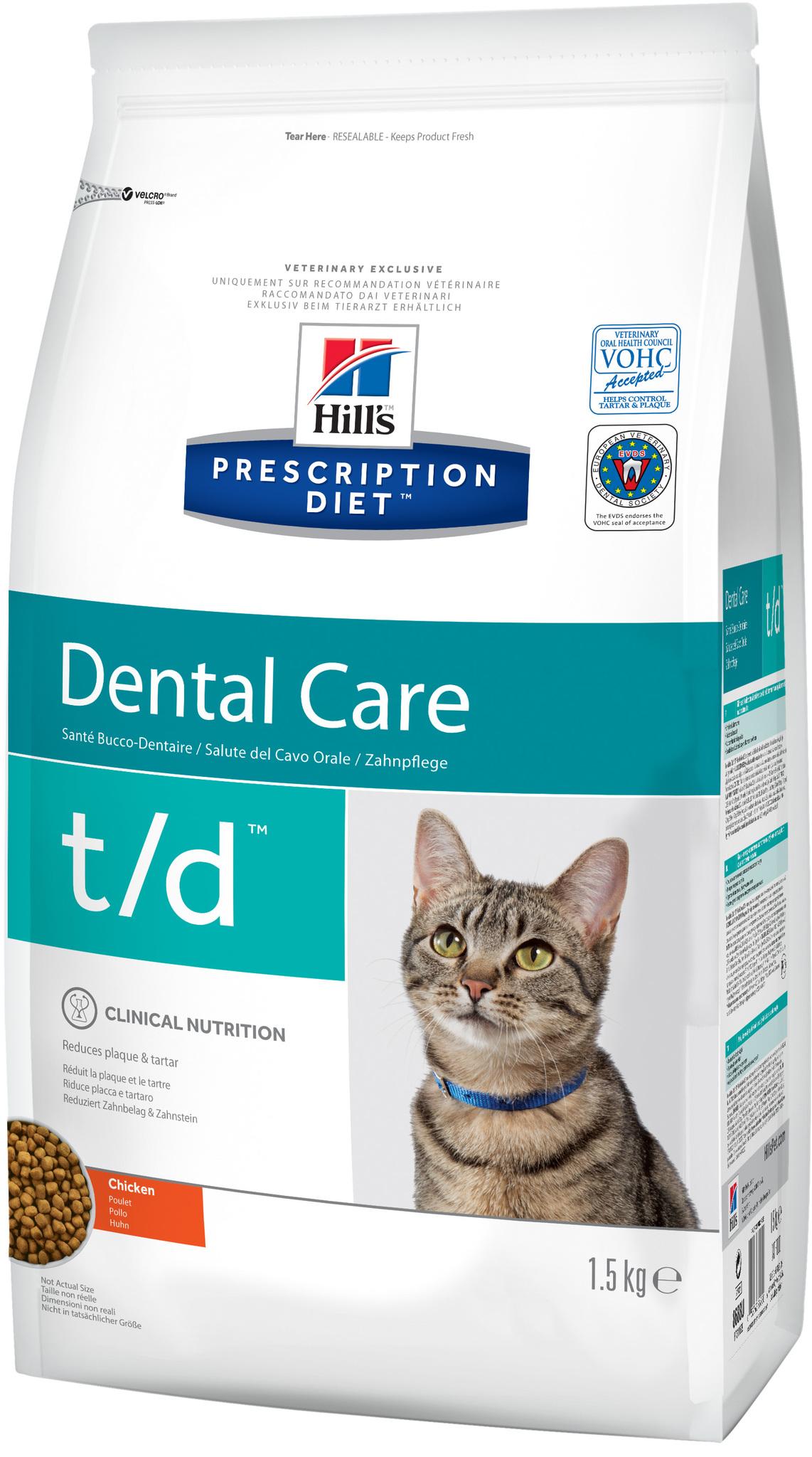 купить хиллс Hill's™ Prescription Diet™ Feline t/d Dental Care with Chicken сухой корм для взрослых кошек, диетический рацион при заболеваниях полости рта состав