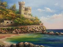 Картина раскраска по номерам 40x50 Крепость на берегу моря