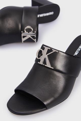 Женские черные кожаные мюли HEEL SANDAL MULE LTH Calvin Klein