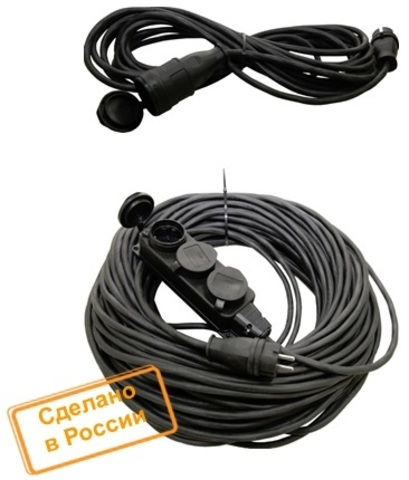 Удлинитель-шнур силовой каучук УШз16-103 IP44 3 гнезда с/з, 10м КГ 3х1,5 TDM